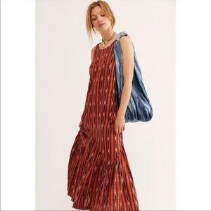 New Free People One Love Maxi Dress Orange Combo L